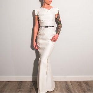 White Asymmetric-Neck Mermaid Gown